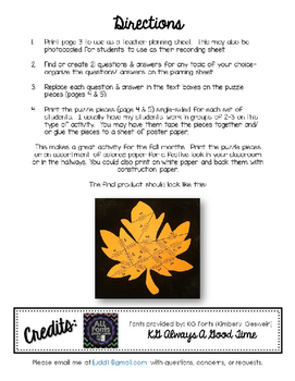 Editable/ Blank Leaf-Shaped PUZZLE TEMPLATE