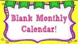 Editable Blank Monthly Calendar Template