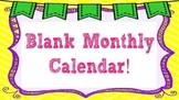 Editable Blank Monthly Calendar Template