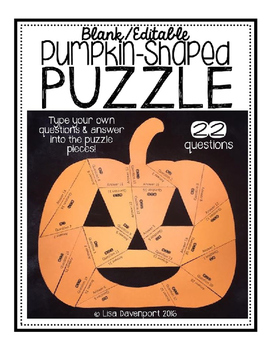 Editable/ Blank Pumpkin-Shaped PUZZLE TEMPLATE