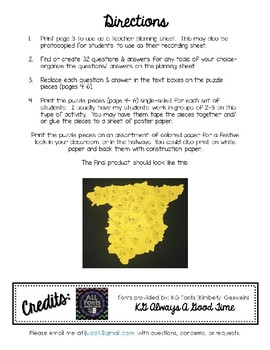 Editable/ Blank SPAIN-Shaped PUZZLE TEMPLATE