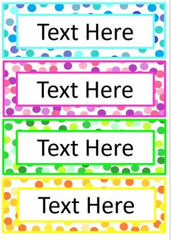Editable Blank Word Wall Colorful Confetti