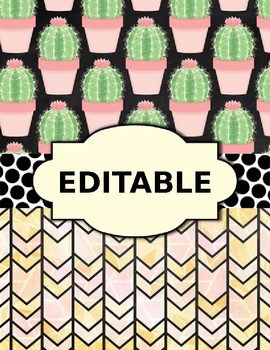 Editable Bloomin' Cactus Binder Cover Set - 10