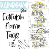 Editable Blue Boho Rainbow Name Tags