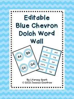 Dolch Word Wall - Blue Chevron {Editable}