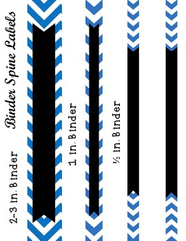 Editable Blue Chevron and Quatrefoil Binder Cover and Spine Label