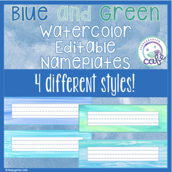 Editable Blue Green Watercolor Nameplates/Nametags