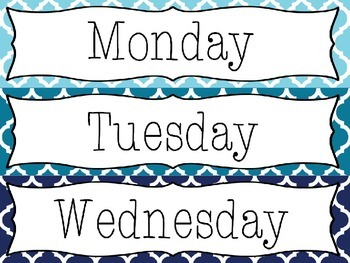 Editable Blue Moroccan Drawer Labels - File, Copy, Grade, Days of Week