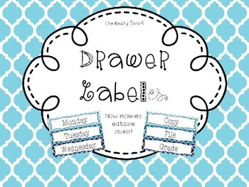 Editable Blue Moroccan Drawer Labels - File, Copy, Grade,