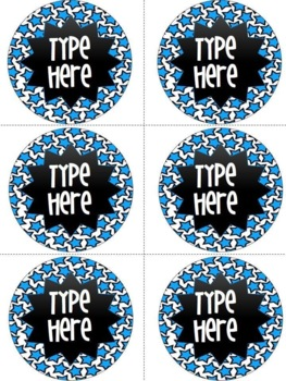 Editable Circle Labels-Blue Star Round Labels