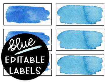 Editable Blue Watercolor Labels