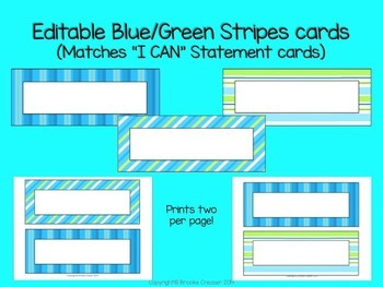 Editable Blue and Green stipes cards/tags