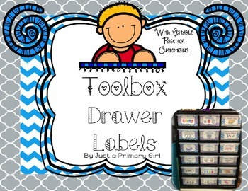 Editable Blue and Purple Chevron Teacher Toolbox