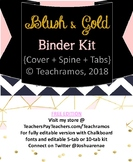 Editable Blush & Gold Binder Kit - Cover, Spine, + Tabs FR