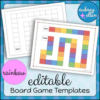 EDITABLE Board Game Templates | Rainbow + B/W