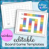 EDITABLE Board Game Templates | Rainbow + B/W