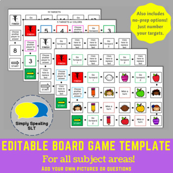 Editable Board Game Templates - For All Subject Areas -  With a No Prep Option