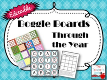 Editable Boggle Boards Through the Year