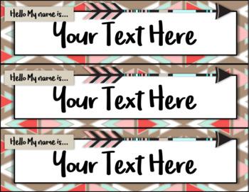 Editable Boho Nameplates