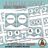Editable Boho Rainbow Banner and Pre-Made Headings Class Décor
