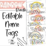 Editable Boho Rainbow Name Tags Bundle