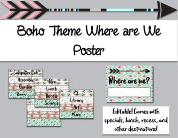 Editable Boho Theme Where are We Poster