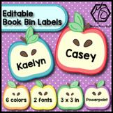 Editable Book Bin Labels, Apple Name Tags, Desk Name Plates