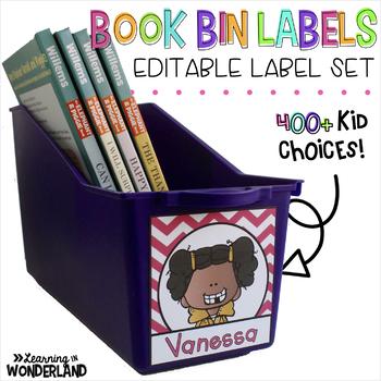 Editable Book Bin Labels - Chevron {280+ Kid Clip Art Choices}