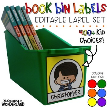 Editable Book Bin Labels - Primary Colors {400+ Kid Choices}
