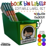 Book Bin Labels | Editable Name Tags | Primary Colors