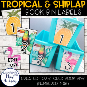 Editable Book Bin Labels (Tropical and Shiplap)