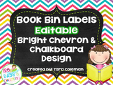 Book Bin Labels~Editable (chalkboard/chevron)