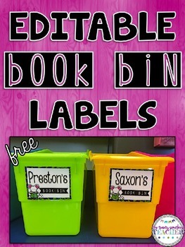 Editable Book Bin Labels for Students