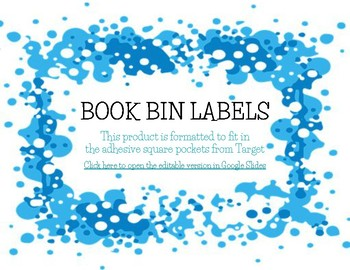 Editable Book Bin Labels for Target Square Adhesive Pockets