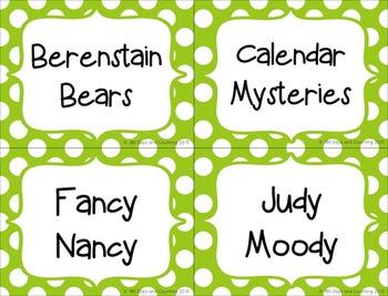 Book Bin Labels~Editable (bright polka-dots)