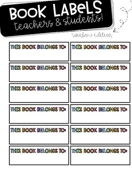 Editable Book Labels