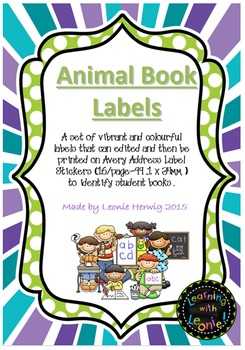 Editable Book Labels – Free- Animals