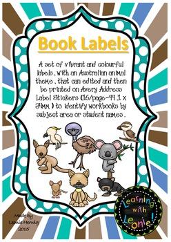 Editable Book Labels – Free- Australian Animals