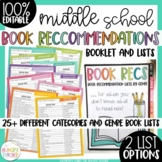 Editable Book Recommendations by Categories and Genres for Middle High School