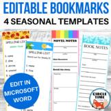 Editable Bookmark Template for Word, Four Seasons Theme, Reading Book Mark
