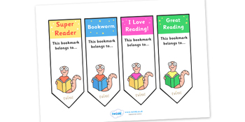 Editable Bookworm Bookmarks