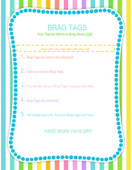 Editable Brag Tag Rules Poster Freebie!