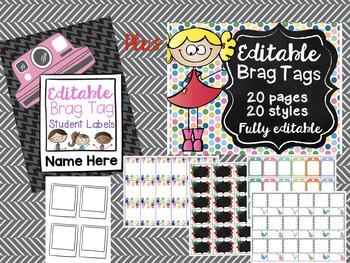 Brag Tags and Name Plates Bundle! Editable, Auto Populating & Easy to Use!