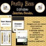 Editable! Brand New 2021 -Pretty Bee Themed Teacher Binder