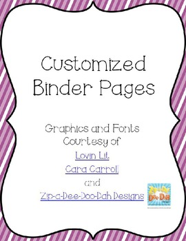 Editable Bright Binder Pages