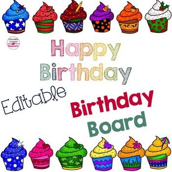 Editable Bright Birthday Board
