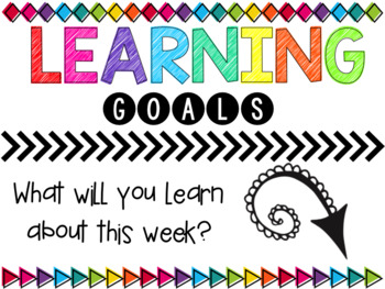 Objective Wall: Learning Goals {Editable} Black & Bright