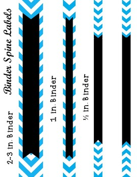 Editable Bright Blue Chevron and Quatrefoil Binder Cover and Spine Label