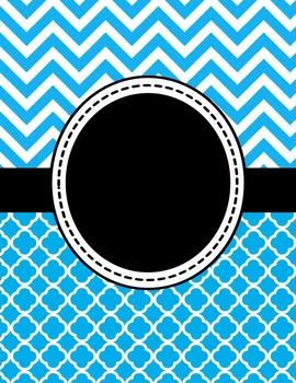 Editable Bright Blue Chevron and Quatrefoil Binder Cover a