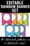 Editable Bright & Bold Rainbow Banner Set - Includes 62 Patterns!